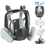 HAOX 15in1 Full Face Large Size Respirator,Full Face Wide Field of View,Widely Used in Organic Gas,Paint spary, Chemical,Woodworking(for 6800 Respirator)