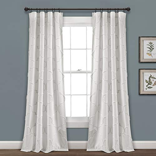 "Lush Decor, White Avon Chenille Trellis Window Curtain Panel Pair, 84"" x 40"""