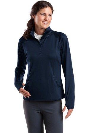 Sport-Tek Women's Sport Wick Stretch 1/2 Zip Pullover M True Navy