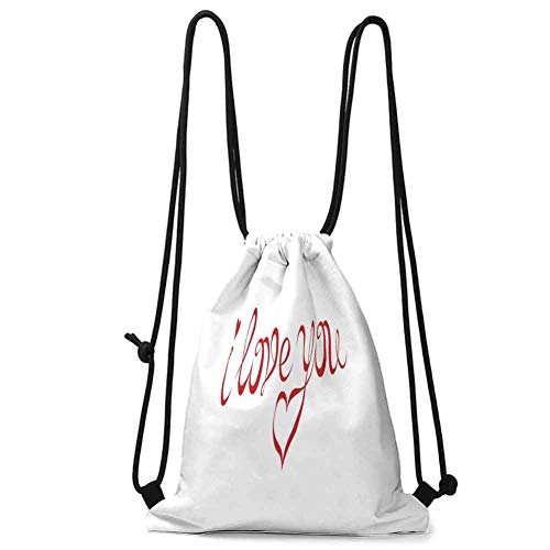 Multi-function Storage Bag I Love You,Swirling Letter Fonts Valentines Heart Shaped Dots Calligraphy Illustration,Red White W13.8 x L17 Inch Home Decor
