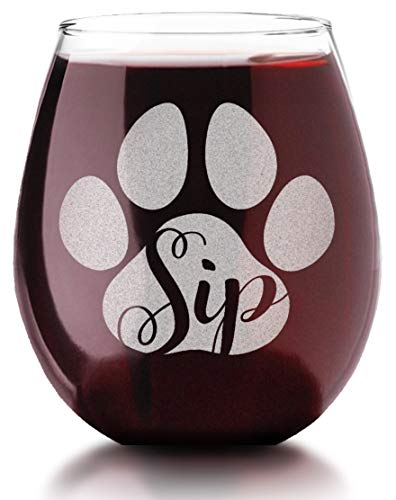 Dog Mom Cat Lady Sip Engraved Stemless Wine Glass Mothers Day Rescue Pet Dad Owner My Birthday Gift for Wife Daughter Husband Son Party Decorations