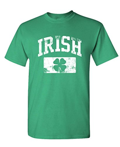 Distressed Irish st Paddys Day Shamrock - Mens Cotton T-Shirt, L, Green