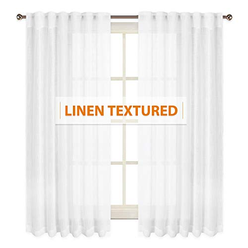 RYB HOME Semi-Sheer Linen Look Curtains Set Semitransparent Privacy Protected Natural Light Through Texture Drapes for Bedroom/Kitchen, Width 52 x Length 63 in Each Panel, Solid White, 2 Panels