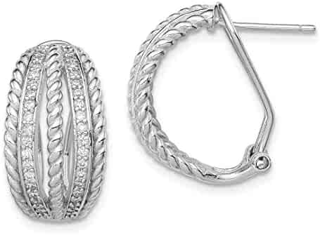 1cab5a2fe 925 Sterling Silver Cubic Zirconia Cz Rope Omega Back Ball Button Stud  Earrings Fine Jewelry Gifts
