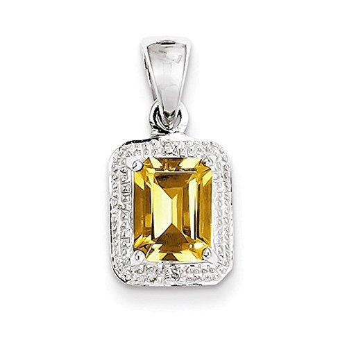 Jewelry Adviser Pendants Sterling Silver Rhodium Emerald-cut Citrine & Diamond Pendant