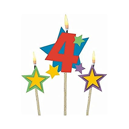 #4 Decorative Birthday Candle & Star Candles | Party Supply Amscan 175206