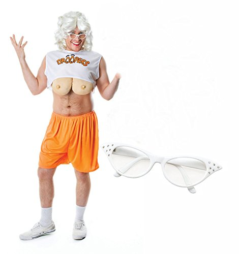 [Party Central Men's Drooper Hooter Stag Fancy Dres Costume Outfit With Glasses One Size Fits All White] (Hooters Costume For Men)
