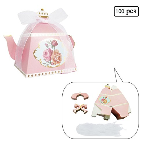 E-Goal 100PCS/Pack Mini Teapot Shape Wedding Favors Candy Boxes Gift Box Party Favor Boxes with Ribbons for Wedding, Party Decorations (Pink 100pcs)