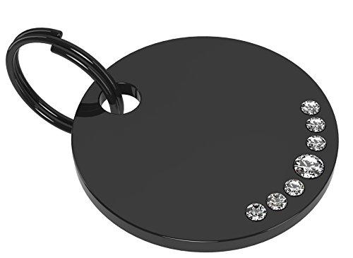 Hundemarke Premium - Katzenmarke - Tiermarke Stainless Steel Black 7 Swarovski Stones white - mit individueller Diamant Gravur