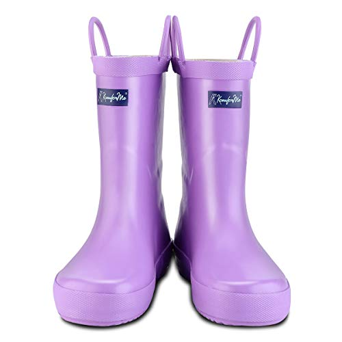 KomForme Kids Rain Boots, Waterproof Rubber Matte Boots with Reflective Stripes and Easy-on Handles Light Purple (Matte Stripe)
