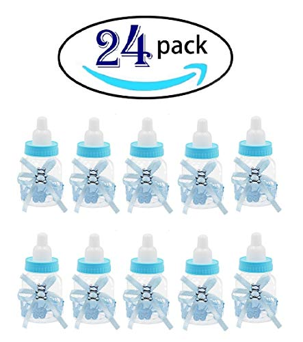 24 Pcs Baby Shower Favor Mini Candy Bottle Gift Box Girl Baby Birthday Parties Decoration (bottle24-2)]()