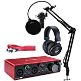 Focusrite Scarlett 2i2 Studio 3rd Gen USB Audio Interface Bundle with Pro Tools First  Microphone  Headphones  XLR Cable  Knox Studio Stand  Shock Mount  and Pop Filter (7 Items)