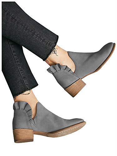 (LAICIGO Womens Ruffled Ankle Booties Chunky Low Heel Cut Out Slip-on Pointed Toe Western Shoes (9 B(M) US, 1-Grey))