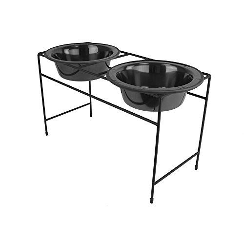 Platinum Pets Double Diner Feeder with Stainless Steel Dog Bowls, 3.5 cup/28 oz, Black Chrome by Platinum Pets