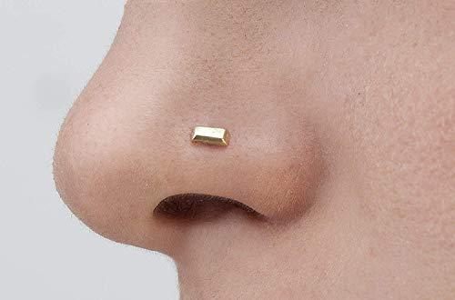 Nose Stud: Unique Handmade Bar Solid 14k Yellow Gold Nostril Jewelry in 20 Gauge For LEFT Side Piercings