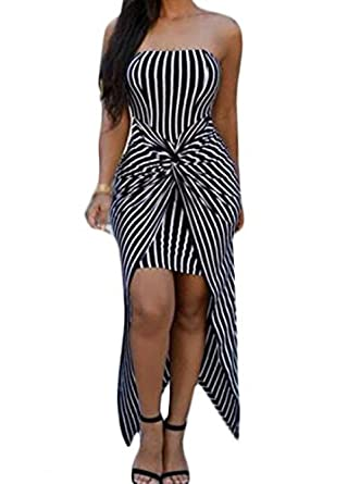 935fa4852179 Women's Stripe Pattern Twisted Strapless Asymmetric Hem Dress:  Amazon.co.uk: Clothing