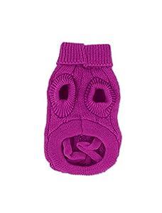 Uxcell Twisted Knit Ribbed Cuff Pet Warm Apparel Sweater, XX-Small, Fuchsia