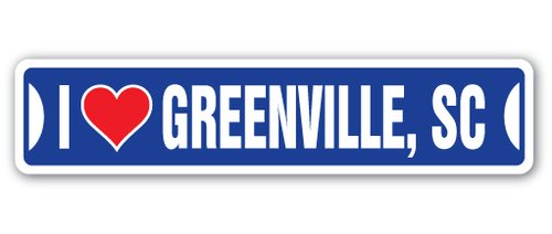 [SignJoker] I LOVE GREENVILLE, SOUTH CAROLINA Street Sign sc city state us wall road décor gift Wall Plaque Decoration -
