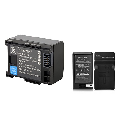 Insten BP-808 Charger with 2 Pack Replacement Lithium-Ion Battery Compatible with Canon FS100 FS10 FS11 FS200 FS21 FS22 Camcorder by INSTEN