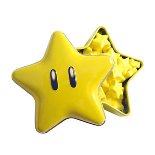 New Super Mario Brothers Super Star Tin(one) with star candies inside -