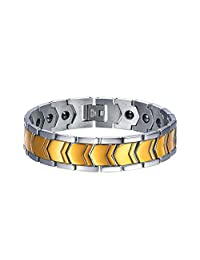 U7 Jewelry Germanium Magnet Bracelet Magnetic Therapy Pain Relief Health Care Function Fashion 18K Gold Plated/Black Gun Plated Chain Bracelets, 8.6 inches Resizable
