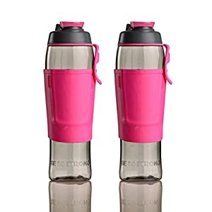 50 Strong Tritan BPA FREE Water Bottle 30oz with Credit Card & Cash Storage Pocket (2-Pack) (Pink)