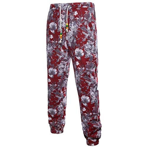 Realdo Clearance Mens Fashion Floral Print Trousers Sweatpants Elastic Waist Creative Comfy Pants(Medium,Red) by Realdo