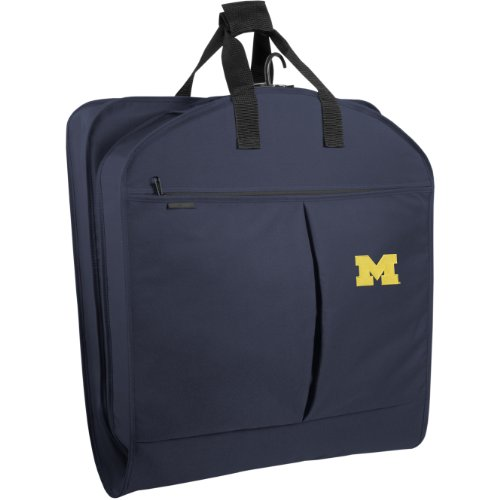WallyBags Michigan Wolverines 40 Inch Suit Length Garment Bag with Pockets, Navy, One (Wally Bags 40 Suit)