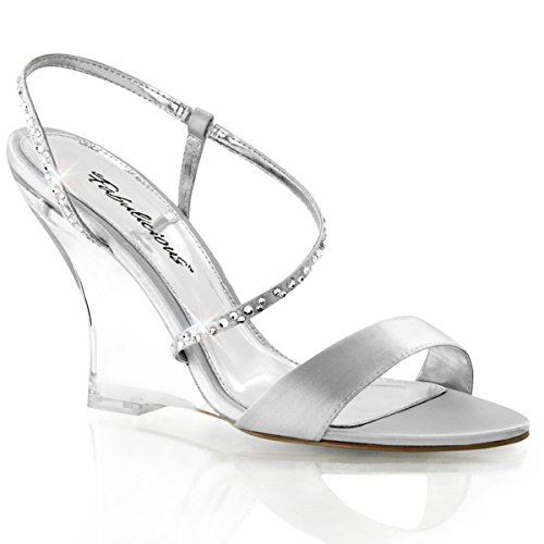 (Fabulicious Womens Silver Satin and Rhinestone Wedges Sandals Shoes 4'' Clear Wedge Heels Size: 8)