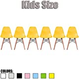 2xhome - Set of Six (6) - Yellow - Kids Size Eames Side Chairs Eames Chairs Yellow Seat Natural Wood Wooden Legs Eiffel Childrens Room Chairs No Arm Arms Armless Molded Plastic Seat Dowel Leg