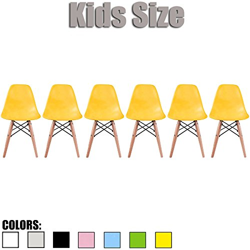 2xhome - Set of Six (6) - Yellow - Kids Size Eames Side Chairs Eames Chairs Yellow Seat Natural Wood Wooden Legs Eiffel Childrens Room Chairs No Arm Arms Armless Molded Plastic Seat Dowel Leg by 2xhome