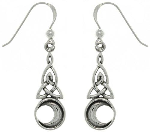 Jewelry Trends Sterling Silver Celtic Triquetra Trinity Moon Dangle Earrings