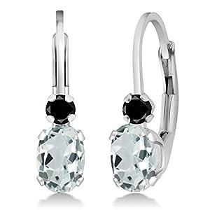 0.93Ct Oval Sky Blue Aquamarine Black Diamond Sterling Silver Leverback Earrings