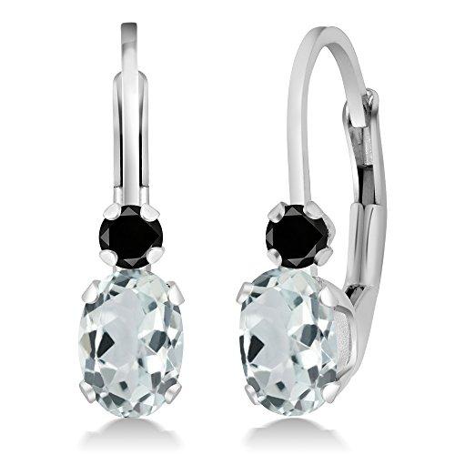 Gem Stone King 0.93Ct Oval Sky Blue Aquamarine Black Diamond Sterling Silver Leverback Earrings