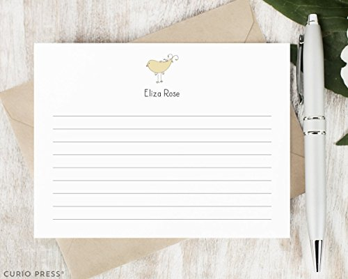 Lined Pointed Flap - DARLING BIRD - Personalized FLAT Animal Stationery / Stationary Set