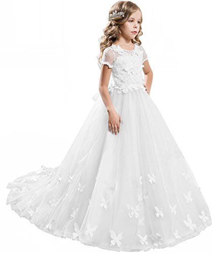 PLwedding Elegant Long Lace Applique Flower Girl Dress Wedding Birthday Dress Size 6 -