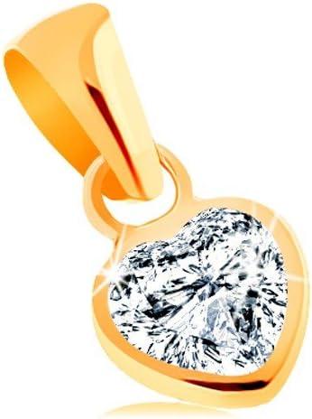 Zirkonia gl/änzendes klares Zirkonia 5x6mm Herren Zirkoniaherz ORDO/Š Diamonds/® 585 Goldanh/änger Ketten/öse ist Oben etwas breiter Gepunzt Damen