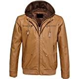 PWYXSA Men's Casual Hooded Long Sleeve Zip Up Vintage PU Faux Leather Jacket Windbreaker Motor Bomber Jacket Coat