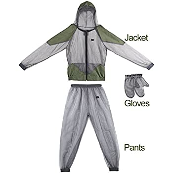 Woman and Men's Outdoor Anti-mosquitoes Mesh Hooded Suits,OUTAD Bug Mosquito Jacket With Pants Bug Suit (XL)