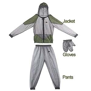 OUTAD - Traje ligero antimosquitos, malla de hilo de alta densidad portátil para cazar, acampar o pescar al aire libre, fácil de llevar.