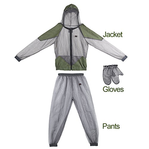 Mosquito Suit,OUTAD Bug Suit Bug Jacket Mosquito Repellent Clothing with Pants and Gloves (L)