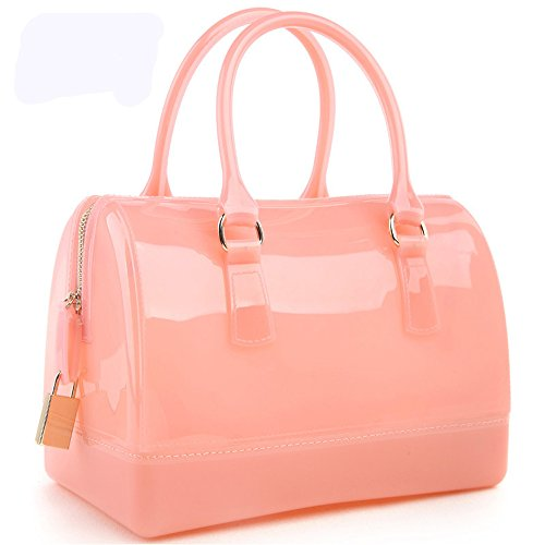 Ladies Summer Jelly Pillow-shaped Top Handle Handbag Candy Color Transparent Crystal Purse (Candy Pink)