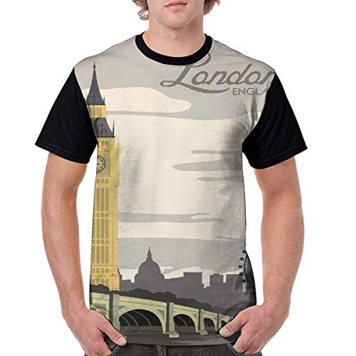 Mens London England Travel Poster Crazy 3D Printed Tshirts Casual Creative Short Sleeve Crewneck Graphic Tees Black