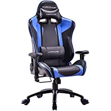 HAPPYGAME Oversized Racing Gaming Chair High Back Ergonomic Swivel Computer Chairs Executive Office Chair with Headrest and Lumbar Support, Blue