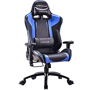 HAPPYGAME Oversized 400 lbs Capacity Racing Gaming Chair High Back Ergonomic Swivel Computer Chairs Executive Office Chair with Headrest and Lumbar Support, Blue