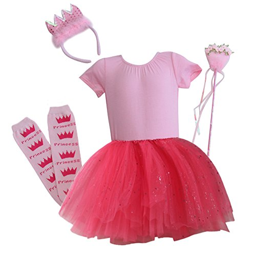 Ballerina Princess Birthday Tutu Gift Set with Crown and Wand (5/6, Pink / Hot Pink)