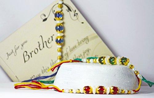 Set of Rakhi for Brother Bhaiya Bhabhi Raksha Bhandhan Rakhi Thread Bracelet Red and Green Threads with Golden Balls Cotton Thread with Greeting Card and Envelope (Set of 3) by Handicrafzon