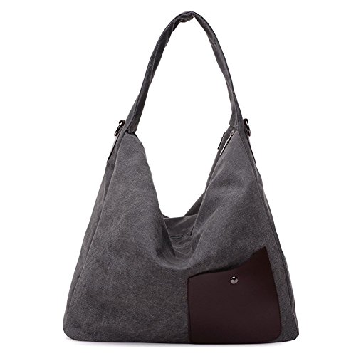 Simple Color Block Women Canvas Shoulder Bag - 6