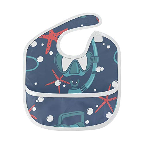 - Diving Under The Ocean Custom Soft Waterproof Stain Odor Resistant Baby Feeding Dribble Drool Bibs Burp Cloth For Infant Overall For 6-24 Months Kid Gift