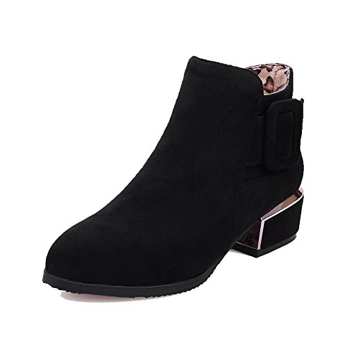 Allhqfashion Women's Low-Heels Solid Pointed Closed Toe Frosted Zipper Boots Black qTrJr